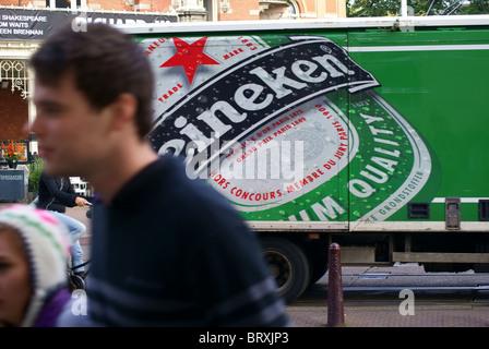 Heineken beer, transport, in Amsterdam, The Netherlands - Stock Photo