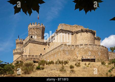 Castillo de los Mendoza en Manzanares El Real Madrid España Mendoza castle Manzanares El Real Madrid Spain - Stock Photo