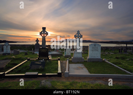 Celtic crosses at cemetery in Carna near Galway and Roundstone, Connemara, Ireland - Stock Photo
