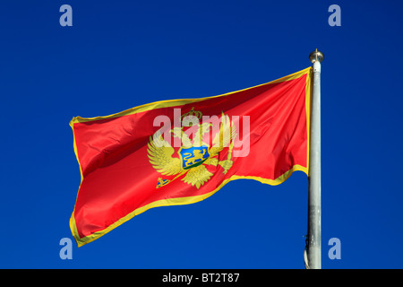 Montenegro, Budva, national flag, - Stock Photo