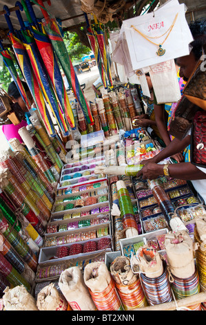 Indian market stall selling bangles and jewelery. Andhra Pradesh, India - Stock Photo