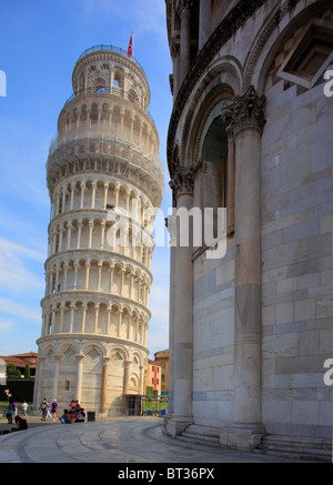 The Leaning Tower in Pisa's Square of MIracles, Italy - Stock Photo