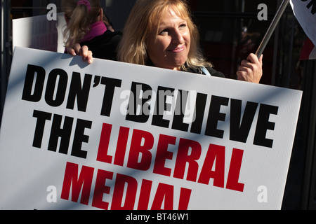 Members of Tea Party 365 and their supporters rally in front of the New York Times building in New York - Stock Photo