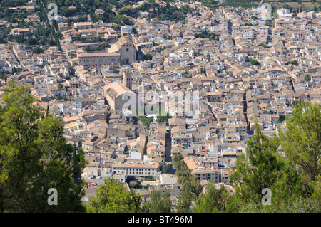 Looking down on the town of Pollensa from the Puig de Maria, Majorca - Stock Photo