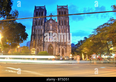 Long exposure of St Joseph's Church in Hanoi, Vietnam - Stock Photo