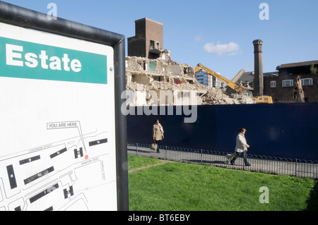 UK Demolition of a council housing estate in Hackney rebuilt by private building company,London - Stock Photo