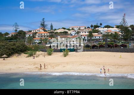 Beach at Vila Baleira, Main town in Porto Santo - Stock Photo