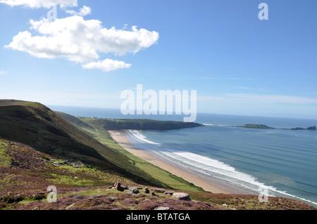 Coastal walk in Rhossili Swansea Wales - Stock Photo