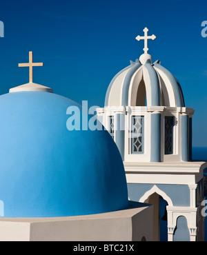 Church Dome and Bell Tower Firostefani Santorini Cyclades Islands Greece - Stock Photo