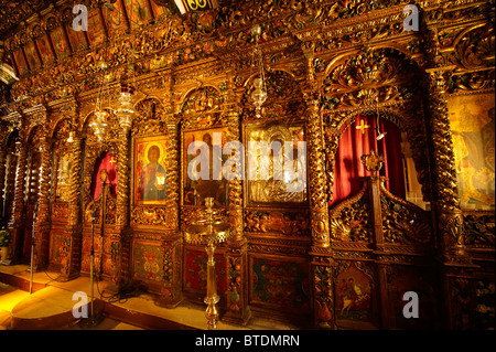 Interior of Monastery of Paleokastro Greek Orthodox church, Ano Mera, Mykonos, Cyclades Islands, Greece. - Stock Photo