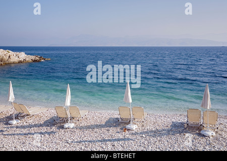Kanoni beach, Kassiopi town, Corfu Island, Greece - Stock Photo