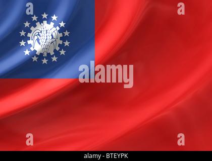Burma ( Myanmar ) flag - Stock Photo