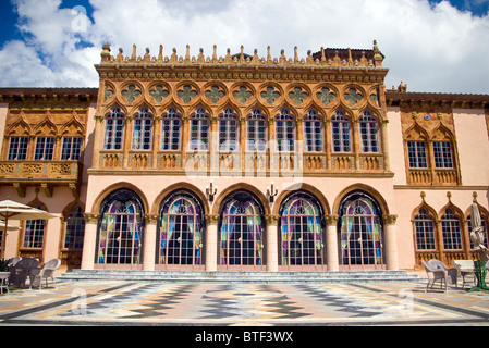 Marble terrace on the west side Ca d'Zan, John and Mable Ringling's winter home in Sarasota, Florida. - Stock Photo