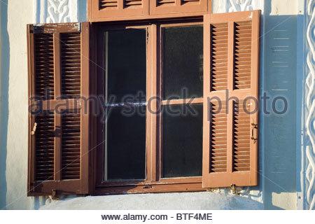 Greek architecture Rhodes island Greece - shuttered window - Stock Photo