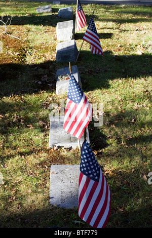 Graves at a Cemetery  In CT USA - Stock Photo