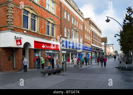 Santander _Buildings and the Architectural Streetscape of Lord Street shops in Southport, Merseyside, UK - Stock Photo