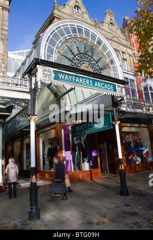 Wayfarers Arcade _Buildings and the Architectural Streetscape of Lord Street shops in Southport, Merseyside, UK - Stock Photo