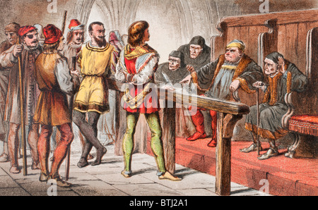 Dogberry speaks in Much Ado About Nothing, Act IV, Scene II, by William Shakespeare. - Stock Photo
