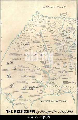 1682 French map of the Mississippi River and region, showing locations of Native American settlements, animals and - Stock Photo