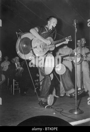 One-man band at the Mountain Music Festival, Asheville, North Carolina, photograph, 1938-1950. - Stock Photo
