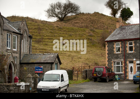 The remains of the Motte and Bailey castle in Builth Wells Powys wales UK - Stock Photo