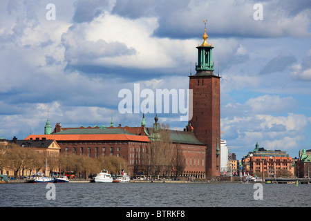 Town Hall (Stadshuset) on King's Island in Stockholm - Stock Photo