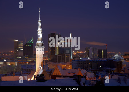 Night view from Toompea over Tallinn at winter - Stock Photo