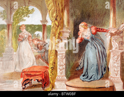 Balthazar sings in Much Ado About Nothing, Act II, Scene III, by William Shakespeare. ' Sigh no more, ladies, sigh - Stock Photo
