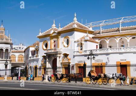 The Plaza de Toros de la Real Maestranza de Caballería de Sevilla is the oldest bullring in Spain  Andalusia - Stock Photo