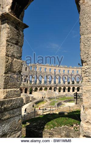 Ancient roman amphitheater (Arena), Pula, Istria, Croatia - Stock Photo