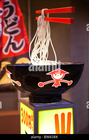 Udon is a type of thick wheat flour noodle popular in Japanese cuisine. Udon is usually served hot as noodle soup - Stock Photo