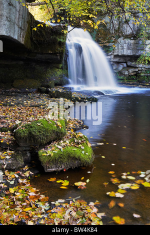The main cascade at West Burton Falls in Wensleydale, Yorkshire - Stock Photo