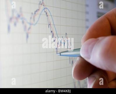 Analysing stock market share prices - Stock Photo