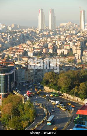 ISTANBUL, TURKEY. A view down on Tarlabasi Bulvari in Beyoglu, with Sisli district in the distance. Autumn 2010. - Stock Photo