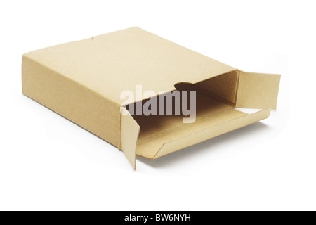 Open empty paper box lying on white background - Stock Photo