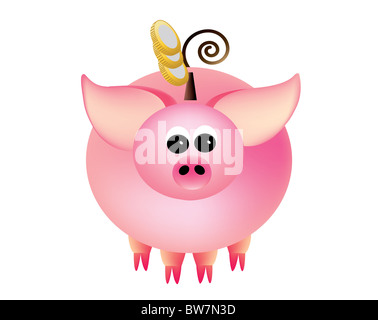 Piggy bank with coins on a white background. - Stock Photo