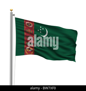 Flag of Turkmenistan - Stock Photo