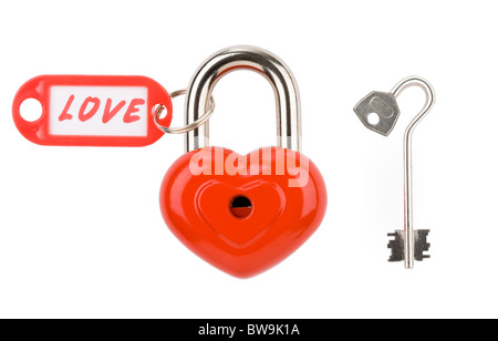 Red lock and key isolated on a white background - Stock Photo