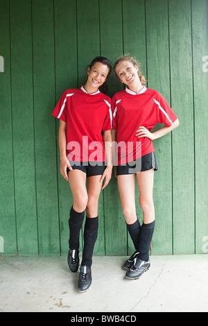 Girl soccer players - Stock Photo