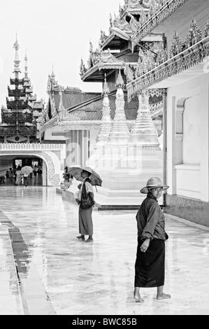 shwedagon paya temple in yangon rangoon myanmar burma burmese buddhist view - Stock Photo