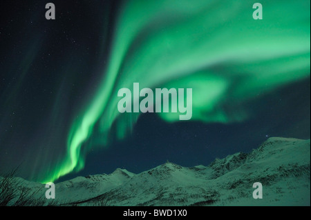 A powerful outburst of Northern Lights (Aurora Borealis) on the island Kvaloya close to Tromso, North Norway - Stock Photo