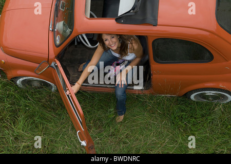 Female looking out of car - Stock Photo
