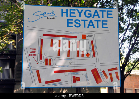Sign & map locating various blocks of flats on infamous Heygate council housing estate Elephant & Castle now being - Stock Photo