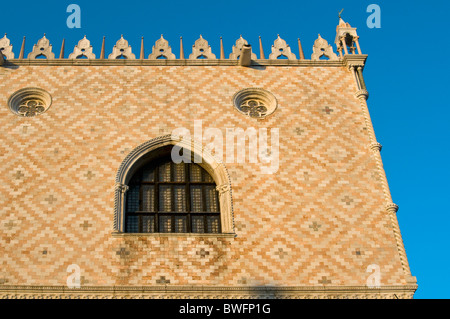 Architectural Detail of Facade of Gothic Palazzo Ducale (Doge's Palace), Piazza San Marco (St. Mark's Square), Venice, - Stock Photo