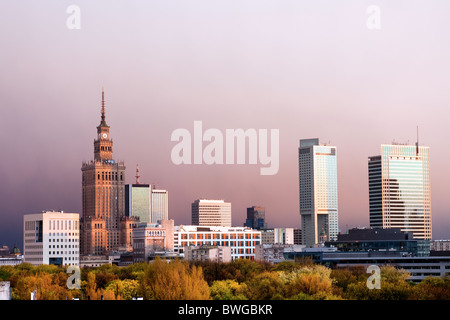 Warsaw, capital city of Poland cityscape, just before the sunset, featuring Palace of Culture and Science, Srodmiescie - Stock Photo