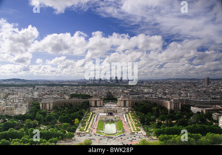 North West view over Paris From Eiffel Tower showing, Palais de Chhaillot, Jardins du Trocadero and La Defense in - Stock Photo