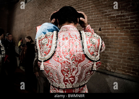 Bullfight in Las Ventas bullring. Madrid . Spain . Traje de luces.  bullfighter's costume - Stock Photo