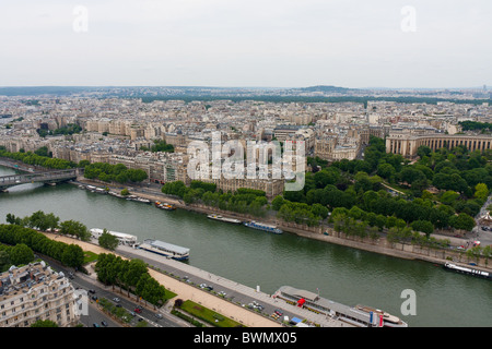 Paris seen from the Eiffel Tower (tour) looking West - Stock Photo