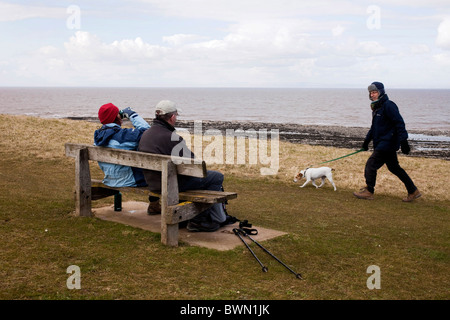 Walkers on the North Somerset  Lilstock to Kilve walk of  the South West Coastal Path. DAVID MANSELL - Stock Photo