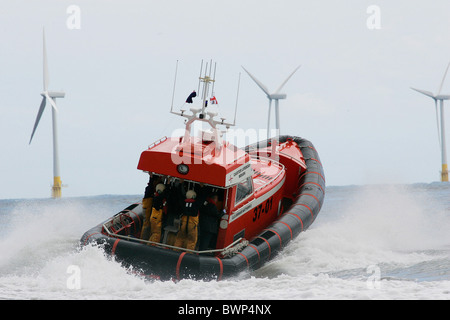 New Royal National Lifeboat Institute RNLI lifeboat launched from the Caister Lifeboat Station in Norfolk - Stock Photo